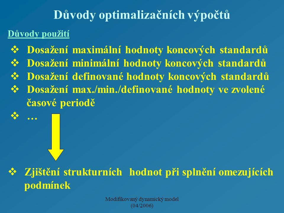 Modifikovaný dynamický model (04/2006) Důvody optimalizačních výpočtů  Dosažení maximální hodnoty koncových standardů  Dosažení minimální hodnoty ko
