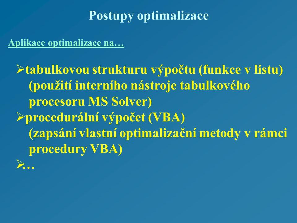 Postupy optimalizace  tabulkovou strukturu výpočtu (funkce v listu) (použití interního nástroje tabulkového procesoru MS Solver)  procedurální výpočet (VBA) (zapsání vlastní optimalizační metody v rámci procedury VBA) …… Aplikace optimalizace na…