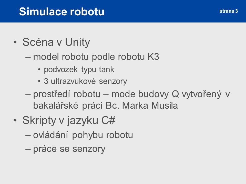 Simulace robotu Scéna v Unity –model robotu podle robotu K3 podvozek typu tank 3 ultrazvukové senzory –prostředí robotu – mode budovy Q vytvořený v ba