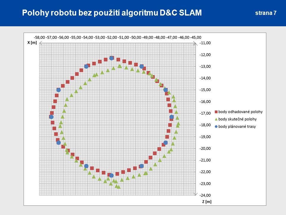 Polohy robotu bez použití algoritmu D&C SLAM strana 7