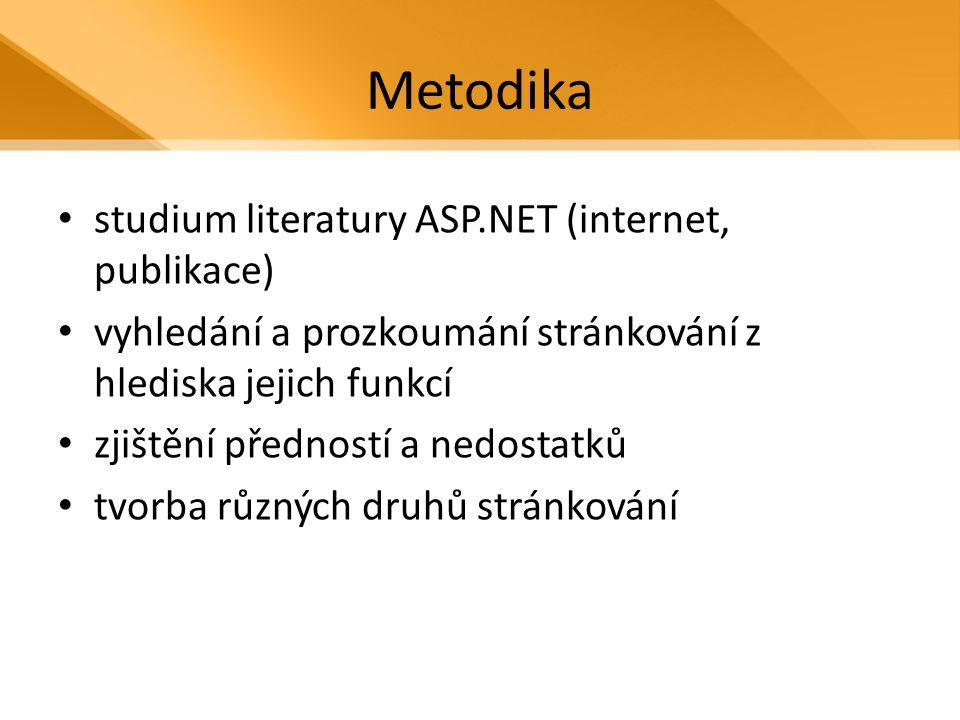 Metodika studium literatury ASP.NET (internet, publikace) vyhledání a prozkoumání stránkování z hlediska jejich funkcí zjištění předností a nedostatků tvorba různých druhů stránkování