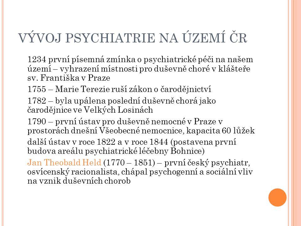 VÝVOJ V BRNĚ zmínka z roku 1770 – duševně nemocní zavření v zamřížovaných klecích byli ukazováni na náměstích klášterní špitály financované církví 1748 – byla vyhrazena 4 lůžka pro psychiatrické pacienty v nemocnici u milosrdných bratří 1786 – první samostatné psychiatrické oddělení v nově otvírané nemocnici u Svaté Anny 1863 – Moravský zemský ústav pro choromyslné v Černovicích, kapacita 350 lůžek, na svou dobu moderní ústav se stal vzorem pro budování dalších podobných zařízení v Rakousku-Uhersku v průběhu dalších let prošel ústav různými vývojovými etapami odpovídajícími vývoji psychiatrického léčení v Evropě, původně koridované stavby se začaly doplňovat pavilony, jejichž kapacita se postupně zvyšovala až na 1300, aby se ustálila na současných 830 lůžkách