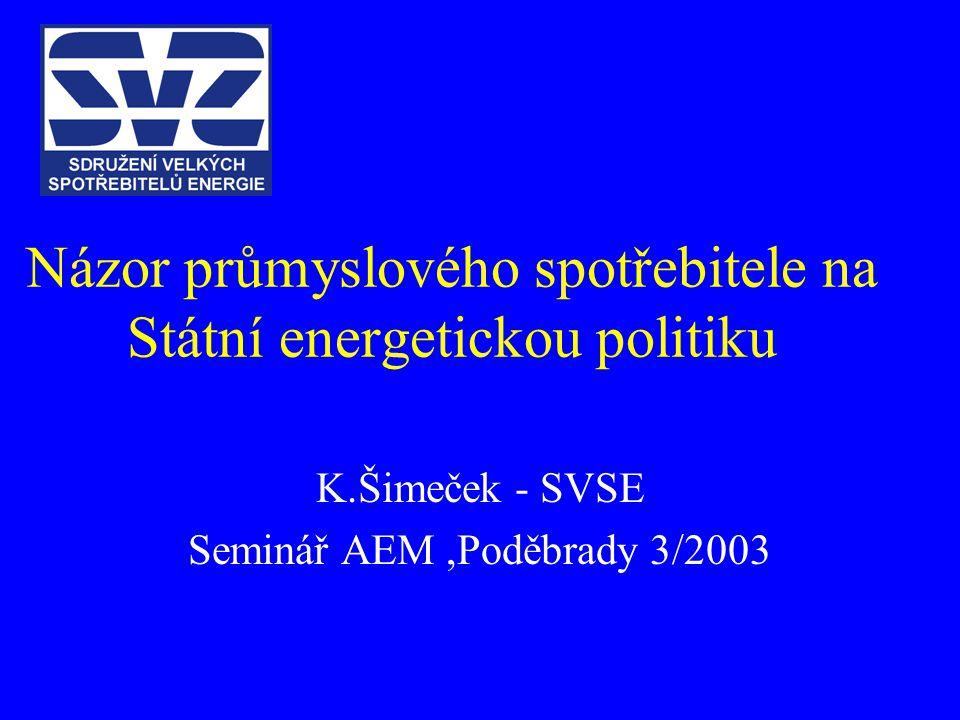 Názor průmyslového spotřebitele na Státní energetickou politiku K.Šimeček - SVSE Seminář AEM,Poděbrady 3/2003