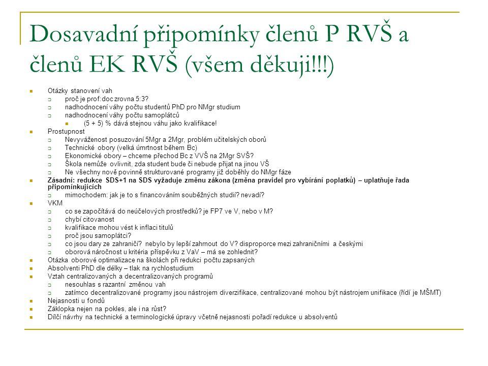 Dosavadní připomínky členů P RVŠ a členů EK RVŠ (všem děkuji!!!) Otázky stanovení vah  proč je prof:doc zrovna 5:3.