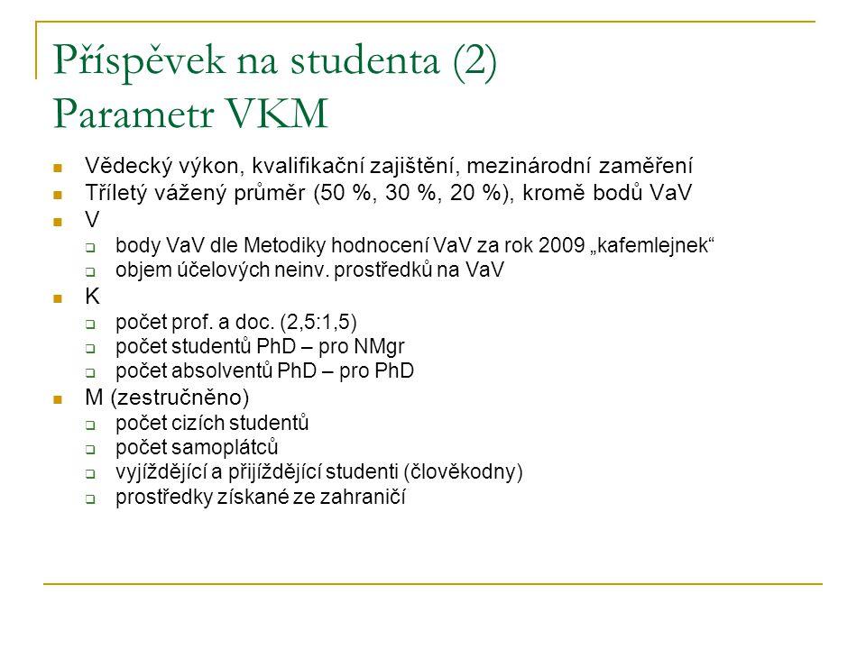 Příspěvek na studenta (3) Navrhované změny PhD  omezení kvóty nově zapsaných na 80 % průměru minulých let a dalších 20 % kvóty rozdělit dle VKM (se stropem) NMgr  omezení kvóty nově zapsaných na 90 % průměru minulých let a dalších 10 % kvóty rozdělit dle VKM (se stropem) Bc a 5Mgr  omezení kvóty nově zapsaných na 95 % průměru minulých let s tím, že školy postižené omezením PhD a NMgr mohou toto využít pro zvýšení kvóty v Bc a 5Mgr