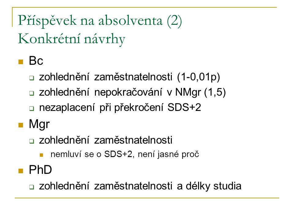 Příspěvek na absolventa (2) Konkrétní návrhy Bc  zohlednění zaměstnatelnosti (1-0,01p)  zohlednění nepokračování v NMgr (1,5)  nezaplacení při překročení SDS+2 Mgr  zohlednění zaměstnatelnosti nemluví se o SDS+2, není jasné proč PhD  zohlednění zaměstnatelnosti a délky studia