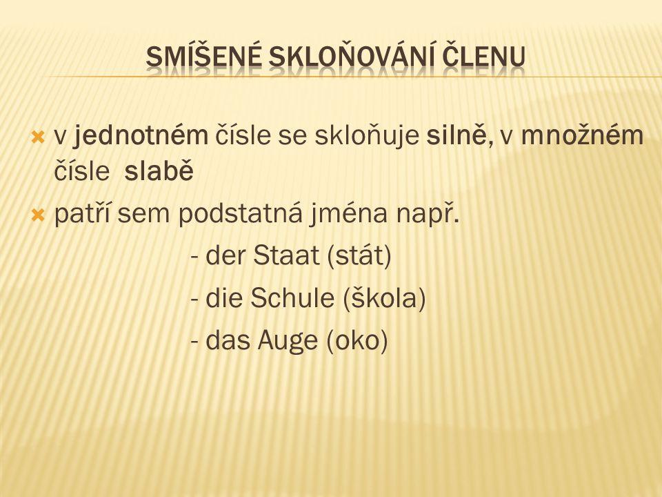  v jednotném čísle se skloňuje silně, v množném čísle slabě  patří sem podstatná jména např. - der Staat (stát) - die Schule (škola) - das Auge (oko