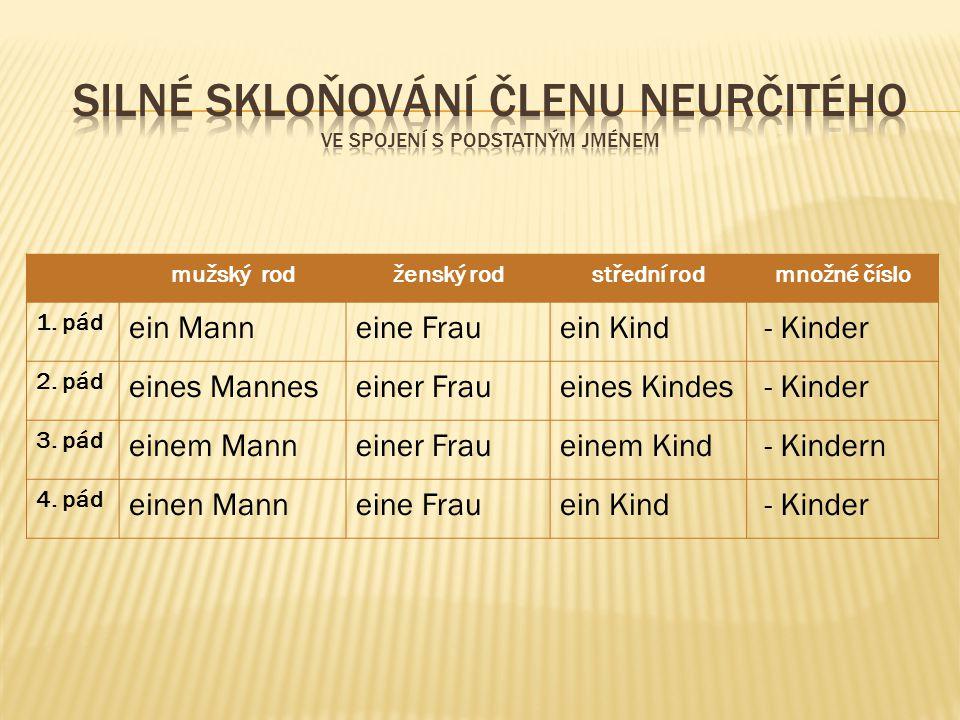mužský rodženský rodstřední rodmnožné číslo 1. pád ein Manneine Frauein Kind - Kinder 2. pád eines Manneseiner Fraueines Kindes - Kinder 3. pád einem
