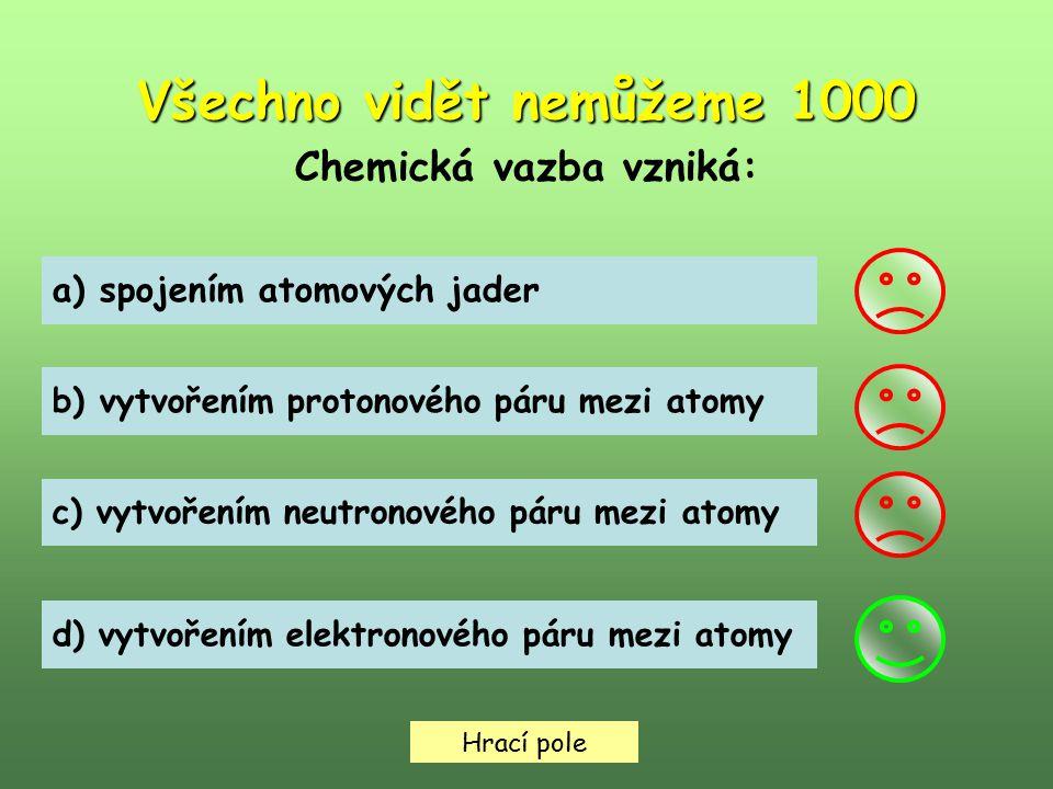 Hrací pole Všechno vidět nemůžeme 2000 K chemickým sloučeninám patří: a) oxid siřičitý b) neon c) chlor d) ozón