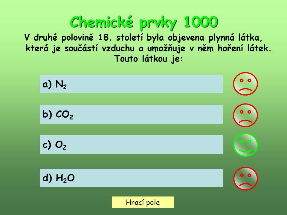 Hrací pole Chemické prvky 2000 V které skupině obsahují značky všech prvků velké písmeno C.