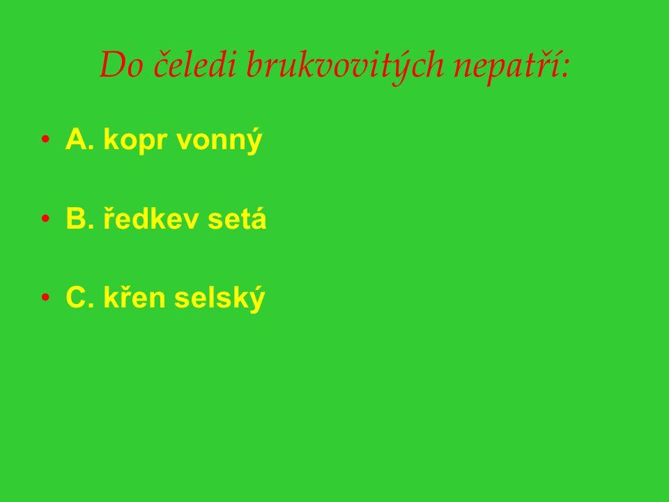 Do čeledi brukvovitých nepatří: A. kopr vonný B. ředkev setá C. křen selský