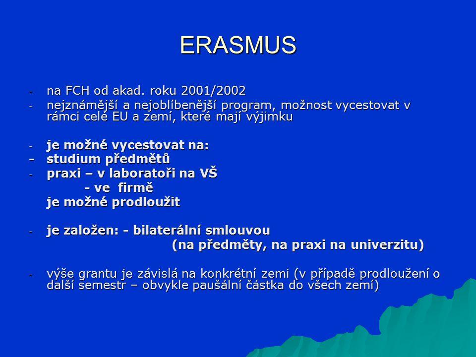 ERASMUS - na FCH od akad. roku 2001/2002 - nejznámější a nejoblíbenější program, možnost vycestovat v rámci celé EU a zemí, které mají výjimku - je mo