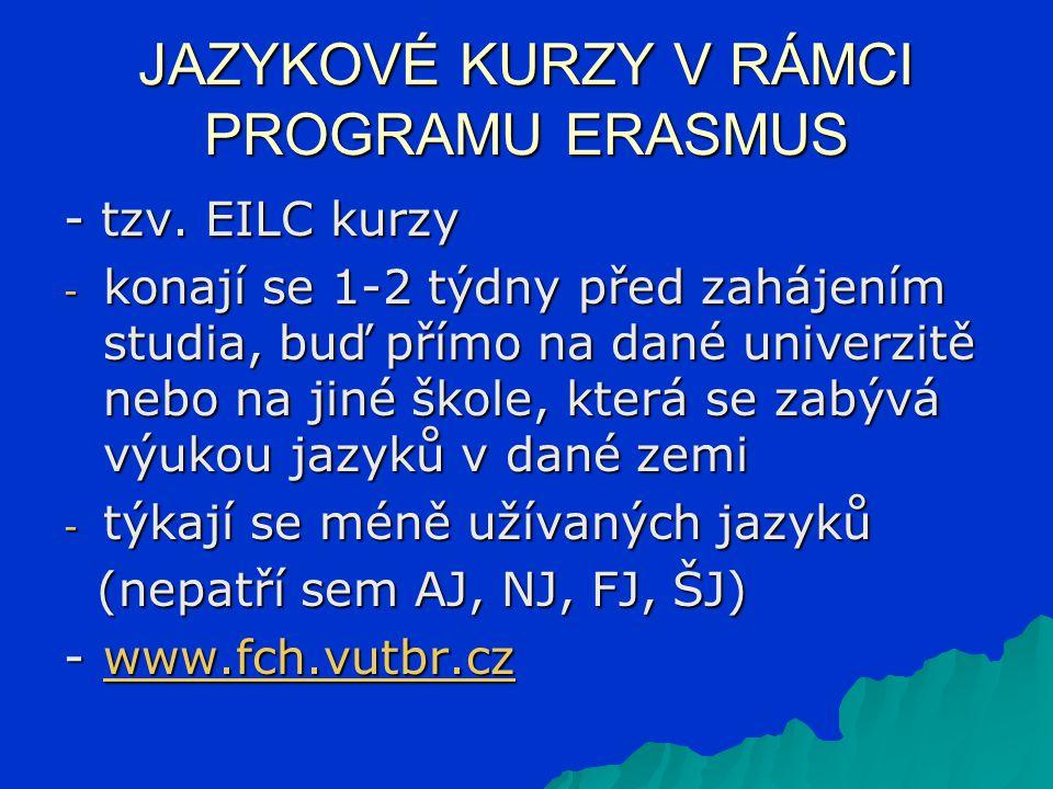 - tzv. EILC kurzy - konají se 1-2 týdny před zahájením studia, buď přímo na dané univerzitě nebo na jiné škole, která se zabývá výukou jazyků v dané z