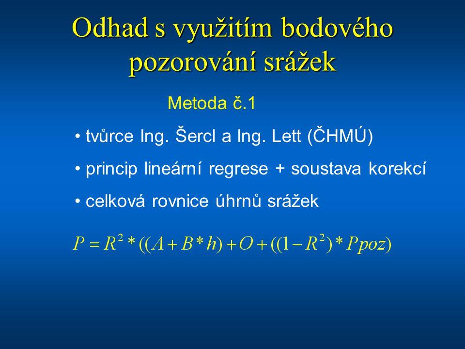 Odhad s využitím bodového pozorování srážek Metoda č.1 tvůrce Ing. Šercl a Ing. Lett (ČHMÚ) princip lineární regrese + soustava korekcí celková rovnic