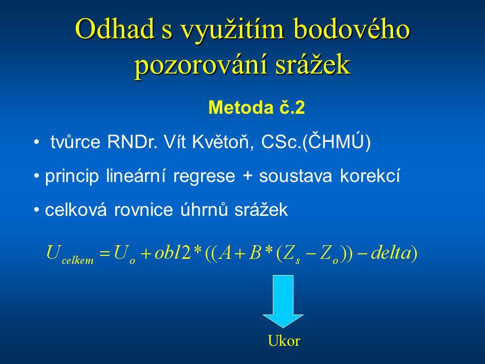 Odhad s využitím bodového pozorování srážek Metoda č.2 tvůrce RNDr. Vít Květoň, CSc.(ČHMÚ) princip lineární regrese + soustava korekcí celková rovnice