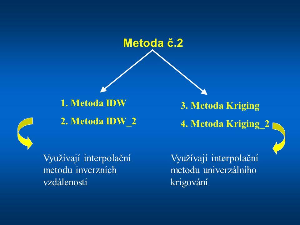 Metoda č.2 1. Metoda IDW 2. Metoda IDW_2 3. Metoda Kriging 4. Metoda Kriging_2 Využívají interpolační metodu inverzních vzdáleností Využívají interpol