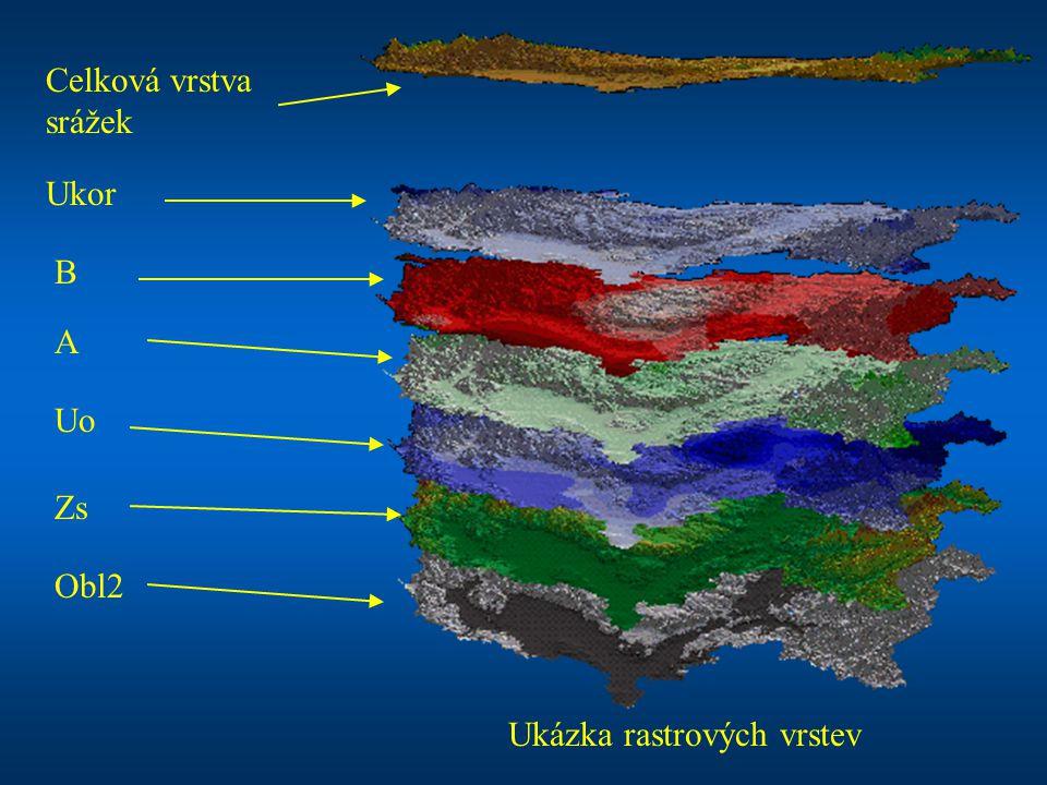 Ukázka rastrových vrstev Celková vrstva srážek Ukor B A Uo Zs Obl2