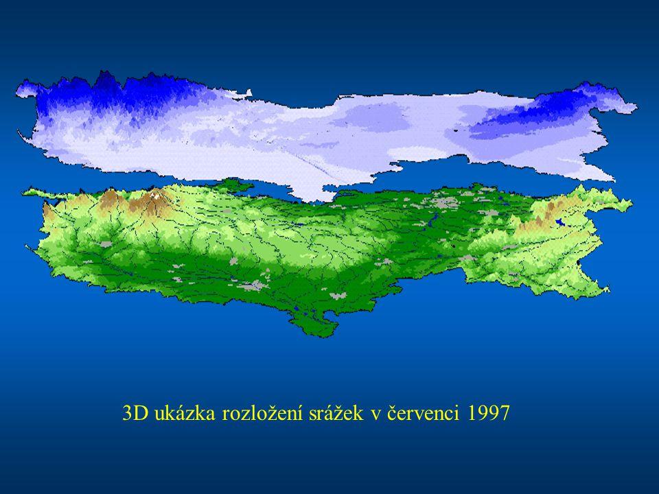 3D ukázka rozložení srážek v červenci 1997