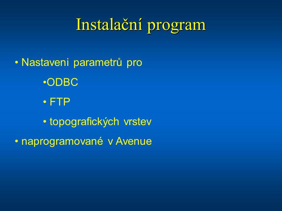 Instalační program Nastaveni parametrů pro ODBC FTP topografických vrstev naprogramované v Avenue