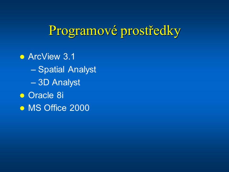 Programové prostředky ArcView 3.1 –Spatial Analyst –3D Analyst Oracle 8i MS Office 2000