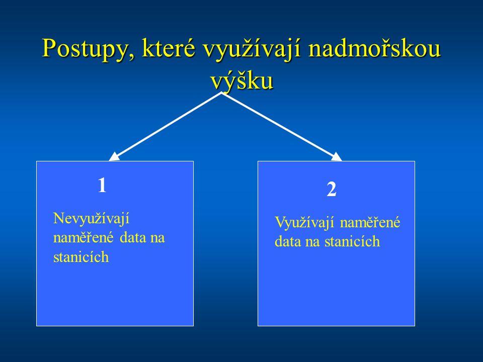 Postupy, které využívají nadmořskou výšku Nevyužívají naměřené data na stanicích Využívají naměřené data na stanicích 1 2