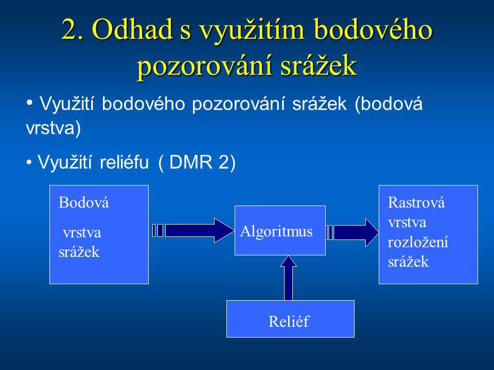 2. Odhad s využitím bodového pozorování srážek Využití bodového pozorování srážek (bodová vrstva) Využití reliéfu ( DMR 2) Bodová vrstva srážek Reliéf