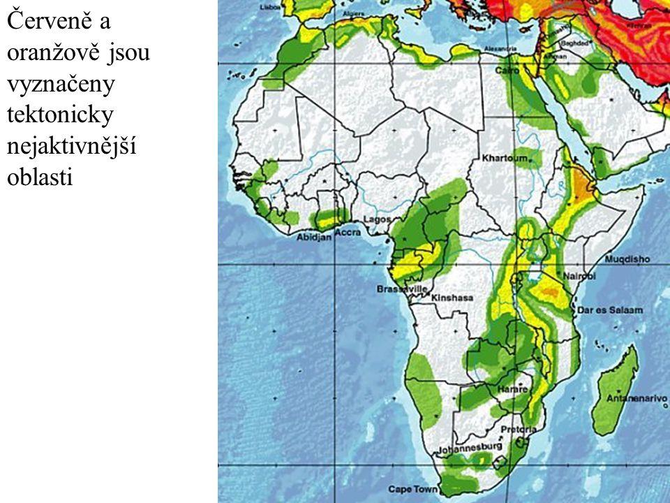Červeně a oranžově jsou vyznačeny tektonicky nejaktivnější oblasti