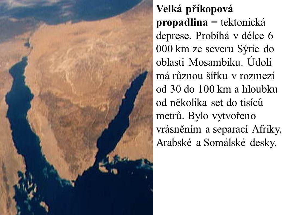  Geologická stavba -značnou část tvoří zbytky prekambrického štítu -V část riftuje -Somálská litosférická deska se pohybuje divergentně (oddělí se?) -vyzvedávání štítů = zmlazování (Sierra-Leone,…) naopak poklesávají vysoko položené pánve (Kalahari, Konžská, Čadská) -v pánvích sedimentární horniny -v pouštích artézské pánve POVRCH: 3 oblasti 1.Atlas = 3hory 2.Tabulové plošiny, vrchoviny, rovina pánve (Sahara, poušť Namib, Kalahari, Libyjská, pánve Čadská, Konžská, Súdánská vysočina, Dračí a Kapské hory, Madagaskar) 3.Východoafrické vysočiny – tektonicky rozrušeny = příkopové propadliny