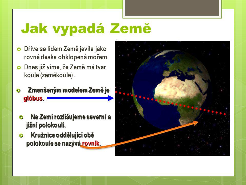 Jak vypadá Země  Dříve se lidem Země jevila jako rovná deska obklopená mořem.  Dnes již víme, že Země má tvar koule (zeměkoule ).  Zmenšeným modele