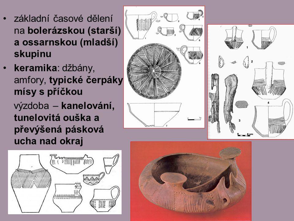 základní časové dělení na bolerázskou (starší) a ossarnskou (mladší) skupinu keramika: džbány, amfory, typické čerpáky, mísy s příčkou výzdoba – kanelování, tunelovitá ouška a převýšená pásková ucha nad okraj