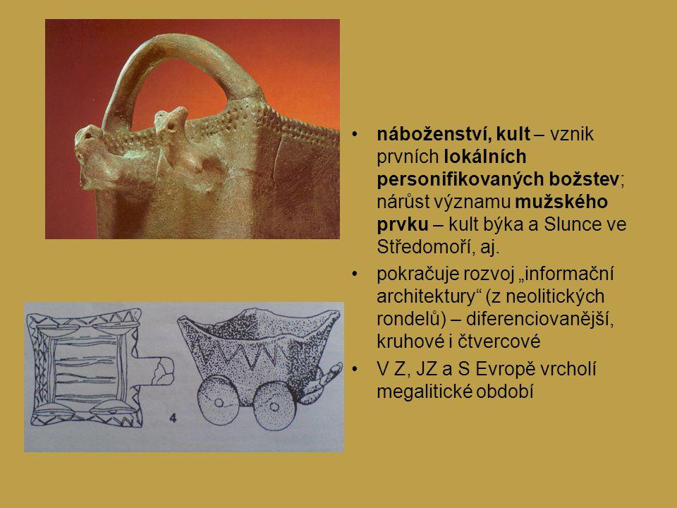 náboženství, kult – vznik prvních lokálních personifikovaných božstev; nárůst významu mužského prvku – kult býka a Slunce ve Středomoří, aj.