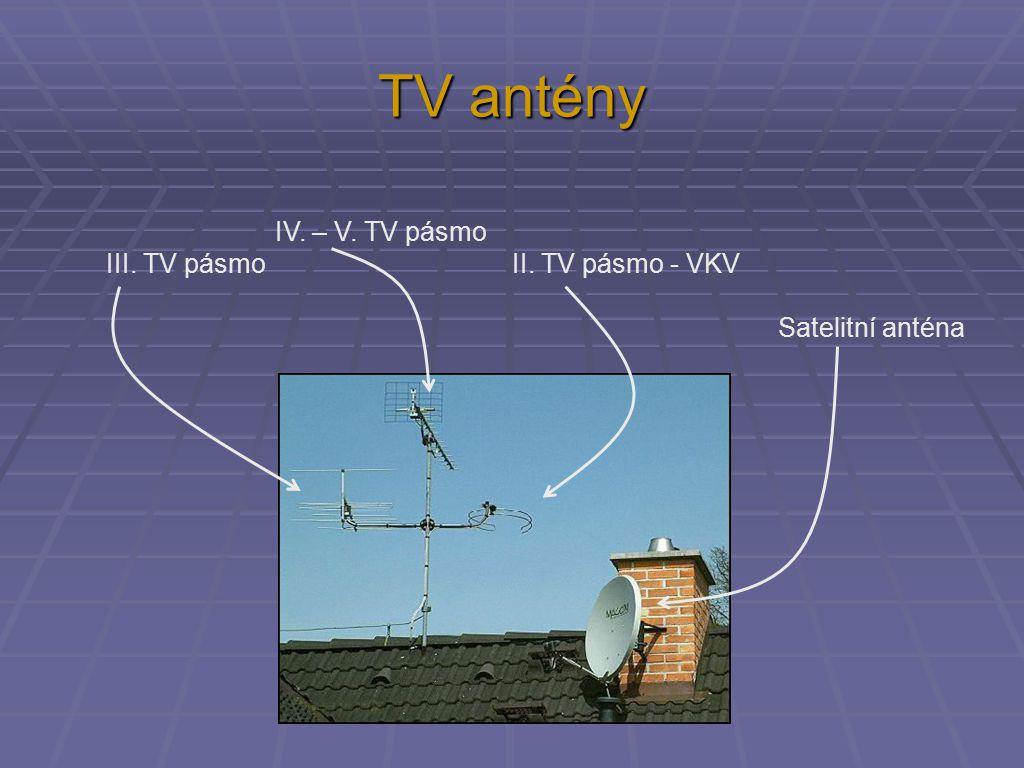TV antény IV. – V. TV pásmo III. TV pásmo II. TV pásmo - VKV Satelitní anténa