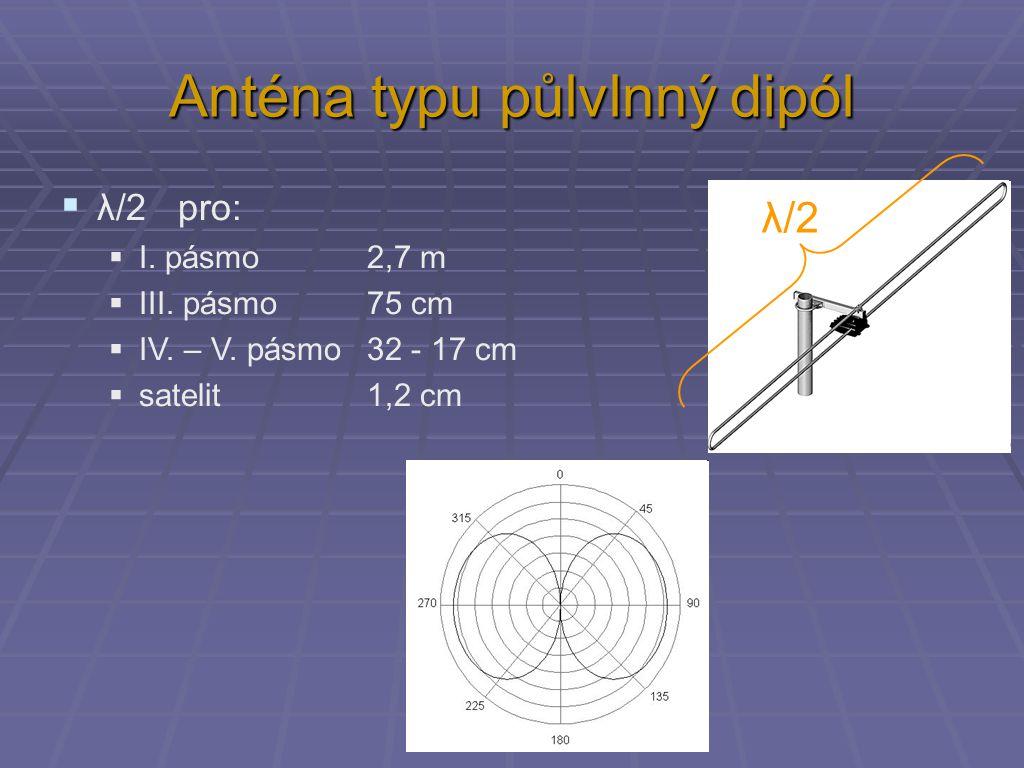 Anténa typu půlvlnný dipól  λ/2 pro:  I. pásmo 2,7 m  III. pásmo 75 cm  IV. – V. pásmo 32 - 17 cm  satelit 1,2 cm λ/2