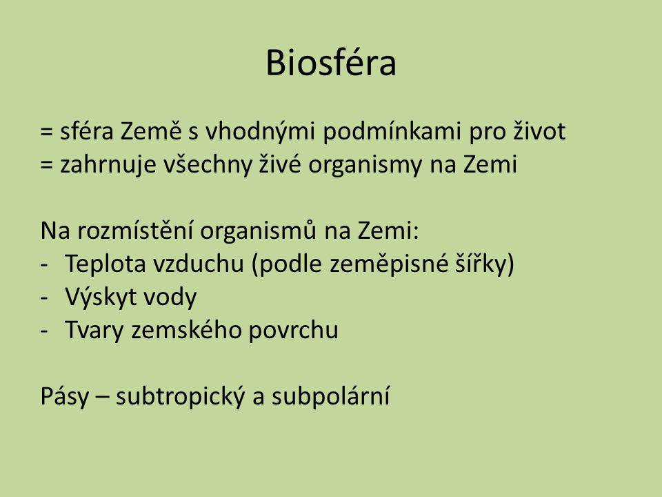 Biosféra = sféra Země s vhodnými podmínkami pro život = zahrnuje všechny živé organismy na Zemi Na rozmístění organismů na Zemi: -Teplota vzduchu (pod