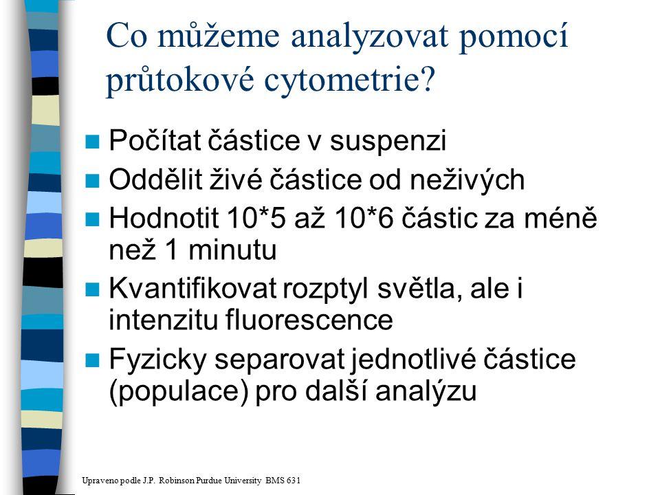 Co můžeme analyzovat pomocí průtokové cytometrie? Počítat částice v suspenzi Oddělit živé částice od neživých Hodnotit 10*5 až 10*6 částic za méně než