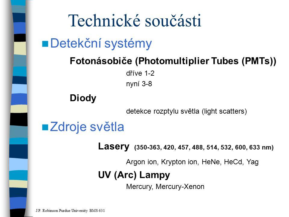 Technické součásti Detekční systémy Fotonásobiče (Photomultiplier Tubes (PMTs)) dříve 1-2 nyní 3-8 Diody detekce rozptylu světla (light scatters) Zdro