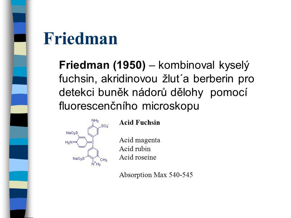 Friedman Friedman (1950) – kombinoval kyselý fuchsin, akridinovou žlut´a berberin pro detekci buněk nádorů dělohy pomocí fluorescenčního microskopu Ac