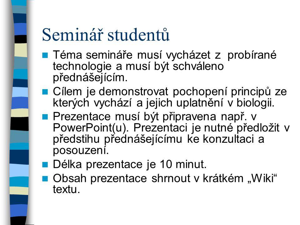 Seminář studentů Téma semináře musí vycházet z probírané technologie a musí být schváleno přednášejícím. Cílem je demonstrovat pochopení principů ze k