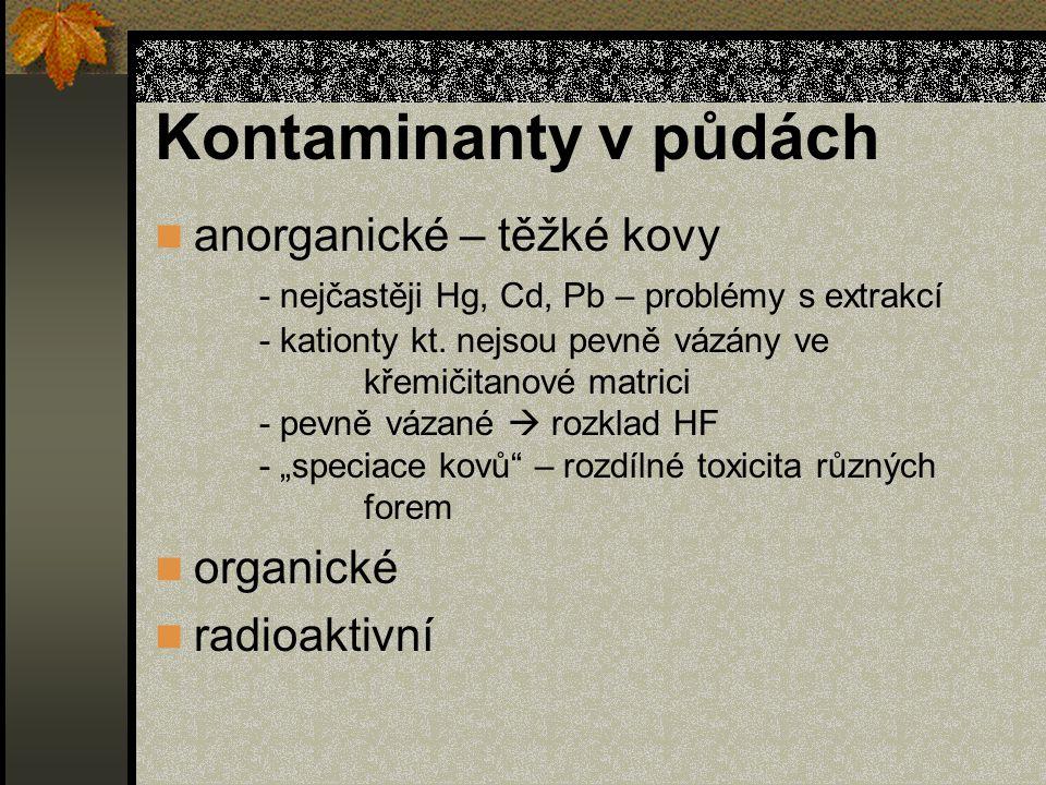 Kontaminanty v půdách anorganické – těžké kovy - nejčastěji Hg, Cd, Pb – problémy s extrakcí - kationty kt.