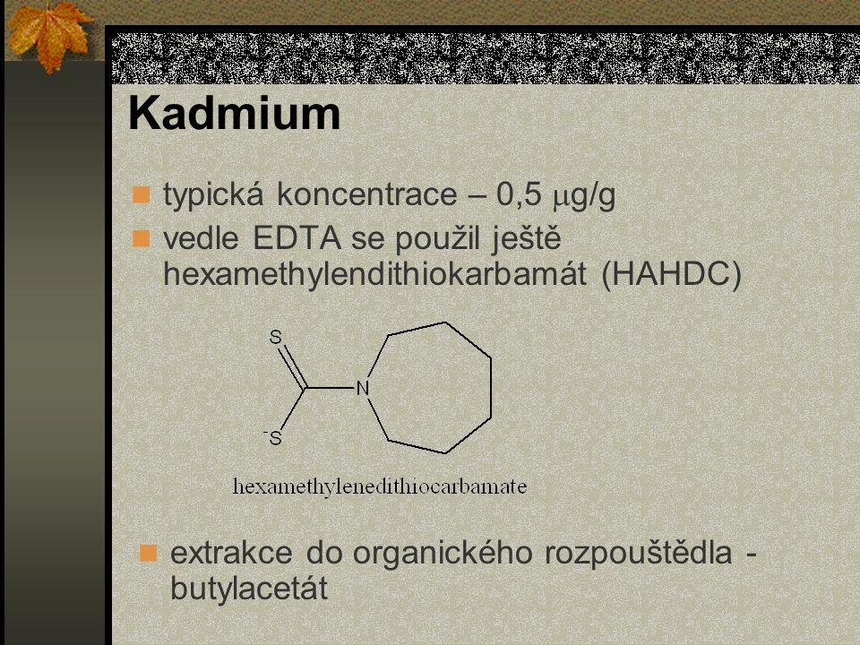 Kadmium typická koncentrace – 0,5  g/g vedle EDTA se použil ještě hexamethylendithiokarbamát (HAHDC) extrakce do organického rozpouštědla - butylacetát