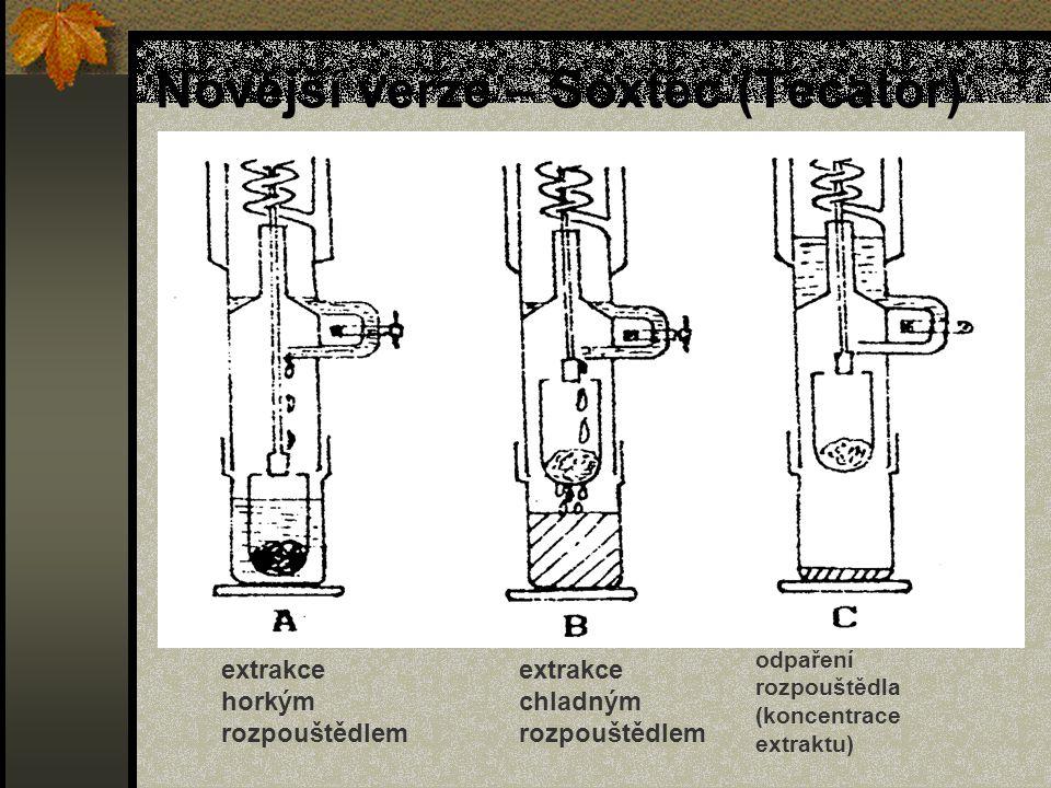 Novější verze – Soxtec (Tecator) extrakce horkým rozpouštědlem extrakce chladným rozpouštědlem odpaření rozpouštědla (koncentrace extraktu)