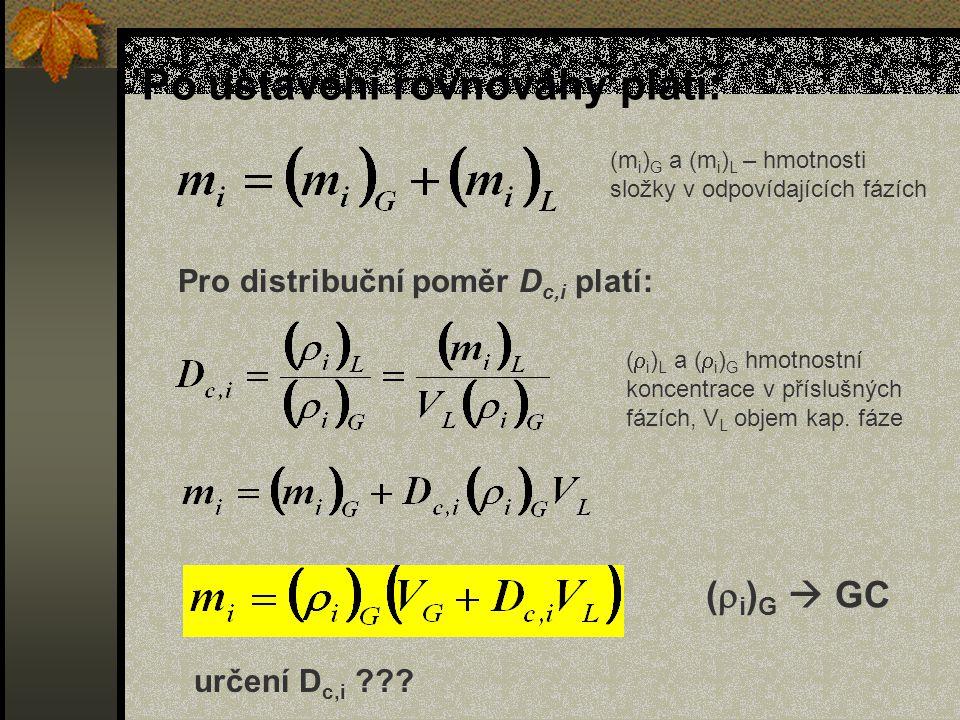 Po ustavení rovnováhy platí: (m i ) G a (m i ) L – hmotnosti složky v odpovídajících fázích (  i ) L a (  i ) G hmotnostní koncentrace v příslušných fázích, V L objem kap.