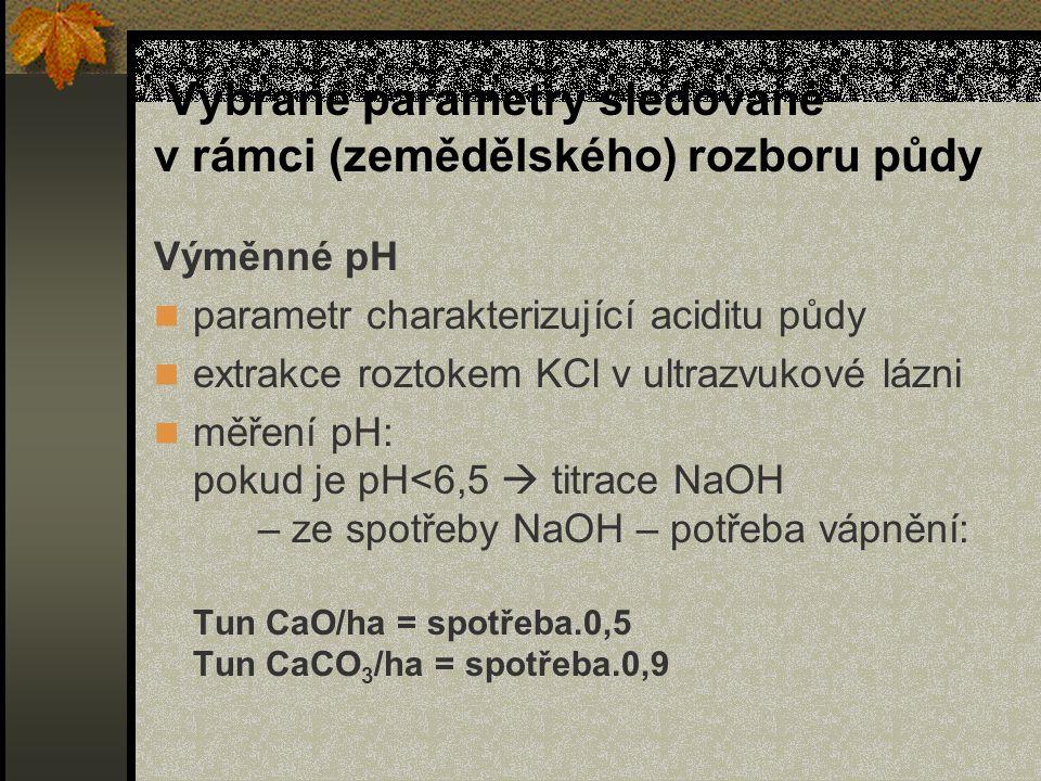 Vybrané parametry sledované v rámci (zemědělského) rozboru půdy Výměnné pH parametr charakterizující aciditu půdy extrakce roztokem KCl v ultrazvukové lázni měření pH: pokud je pH<6,5  titrace NaOH – ze spotřeby NaOH – potřeba vápnění: Tun CaO/ha = spotřeba.0,5 Tun CaCO 3 /ha = spotřeba.0,9