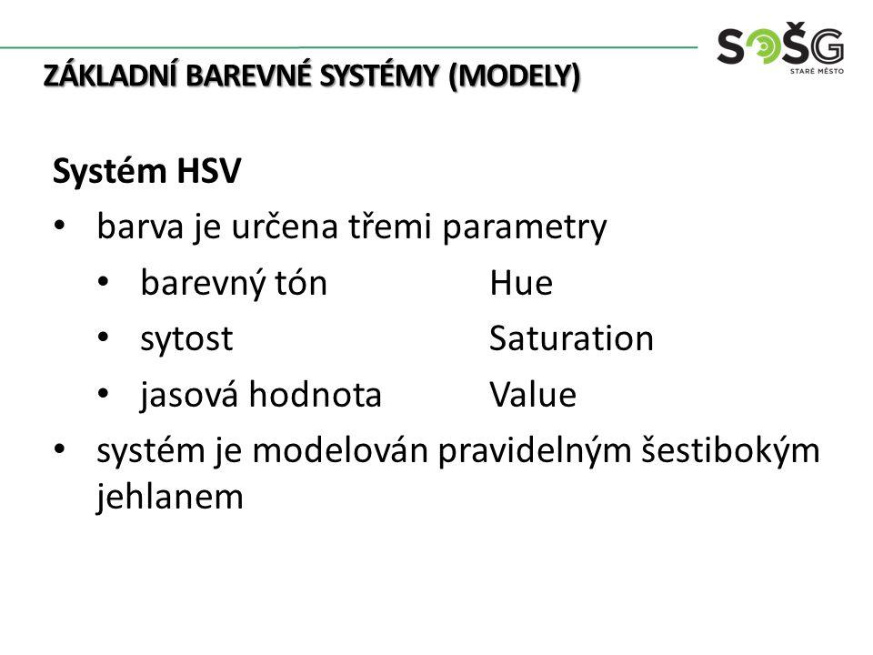 ZÁKLADNÍ BAREVNÉ SYSTÉMY (MODELY) Systém HSV barva je určena třemi parametry barevný tón Hue sytostSaturation jasová hodnotaValue systém je modelován pravidelným šestibokým jehlanem