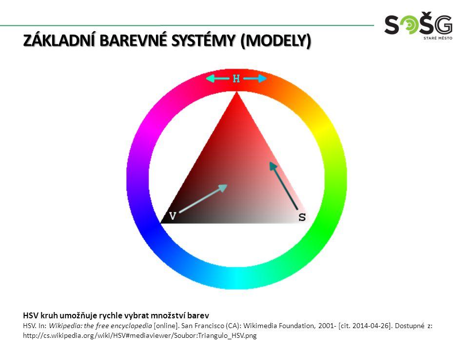 ZÁKLADNÍ BAREVNÉ SYSTÉMY (MODELY) HSV kruh umožňuje rychle vybrat množství barev HSV.