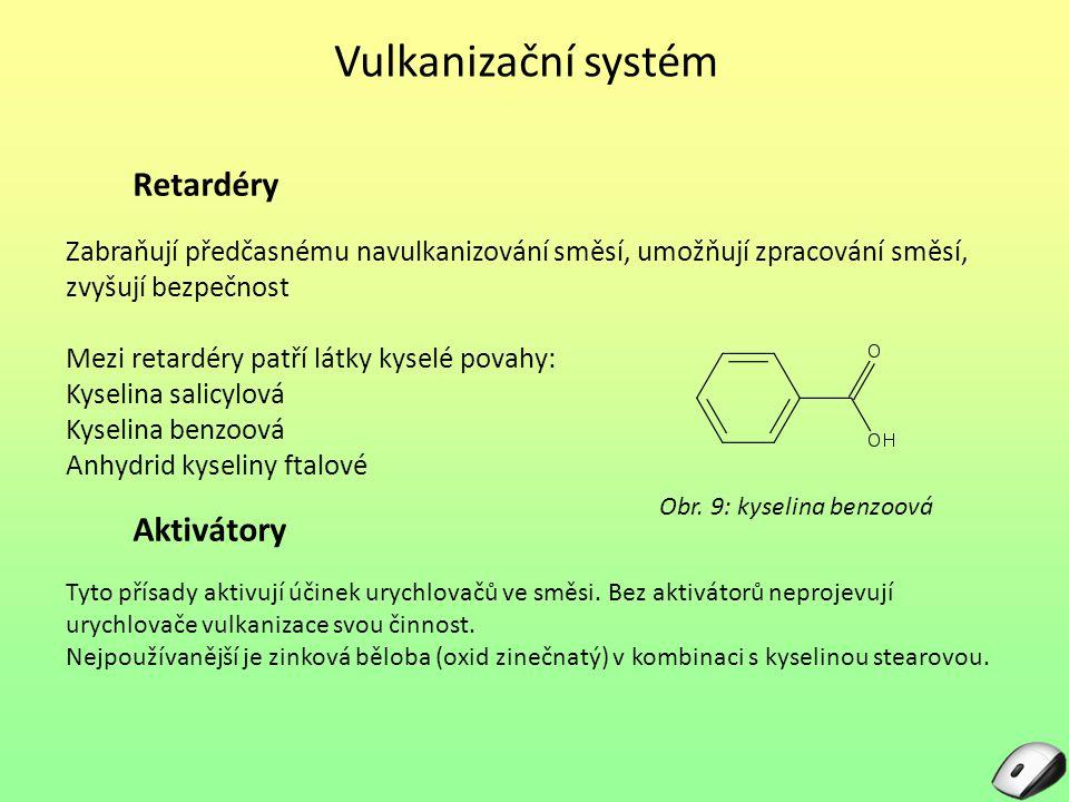 Vulkanizační systém Zabraňují předčasnému navulkanizování směsí, umožňují zpracování směsí, zvyšují bezpečnost Mezi retardéry patří látky kyselé povahy: Kyselina salicylová Kyselina benzoová Anhydrid kyseliny ftalové Obr.