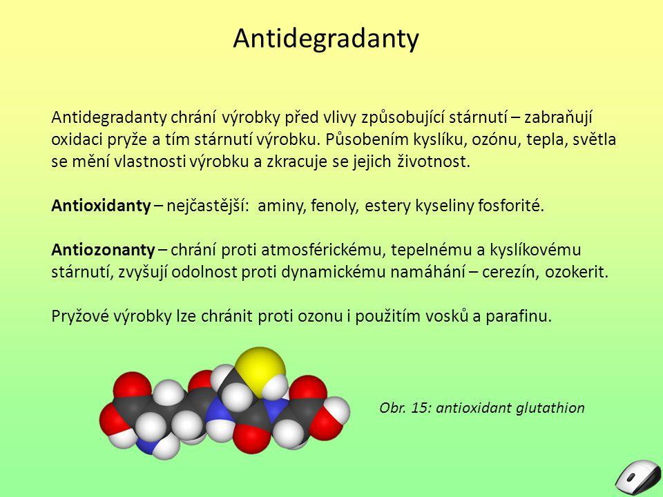 Antidegradanty Antidegradanty chrání výrobky před vlivy způsobující stárnutí – zabraňují oxidaci pryže a tím stárnutí výrobku. Působením kyslíku, ozón
