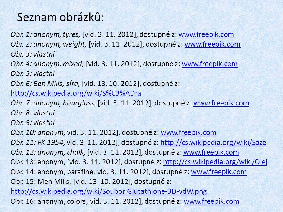 Seznam obrázků: Obr.1: anonym, tyres, [vid. 3. 11.