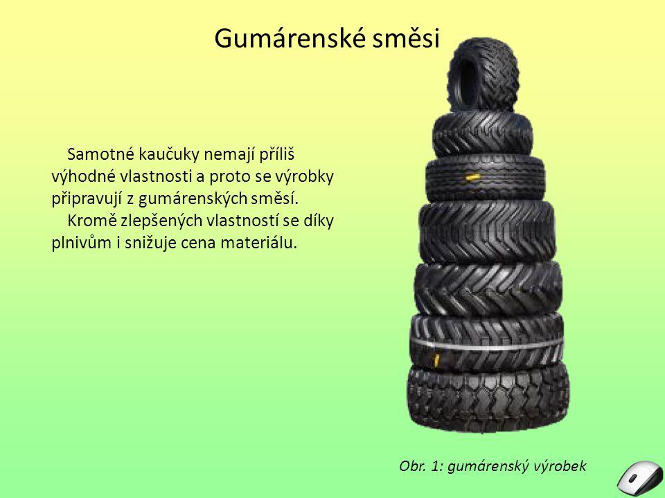 Gumárenské směsi Samotné kaučuky nemají příliš výhodné vlastnosti a proto se výrobky připravují z gumárenských směsí. Kromě zlepšených vlastností se d