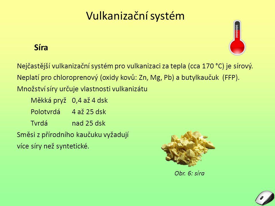 Vulkanizační systém urychlují chemickou reakci (zkracují vulkanizační dobu) umožňují vulkanizaci při nižší teplotě podporují účinek vulkanizačních činidel snižují potřebné množství síry zlepšují vlastnosti pryže (zejména pevnost) Urychlovače podle účinnosti: Pomalé guanidiny: představitel je Denax Rychlé thiazoly: Pneumax MBT a sulfenamidy: Sulfenax CB Velmi rychléthiuramy: Hermat TMT Ultrarychlé dithiokarbamany: Hermat ZDT, Vulkacit 774 Speciálníderiváty močoviny: Rodanin S - 62 Obr.